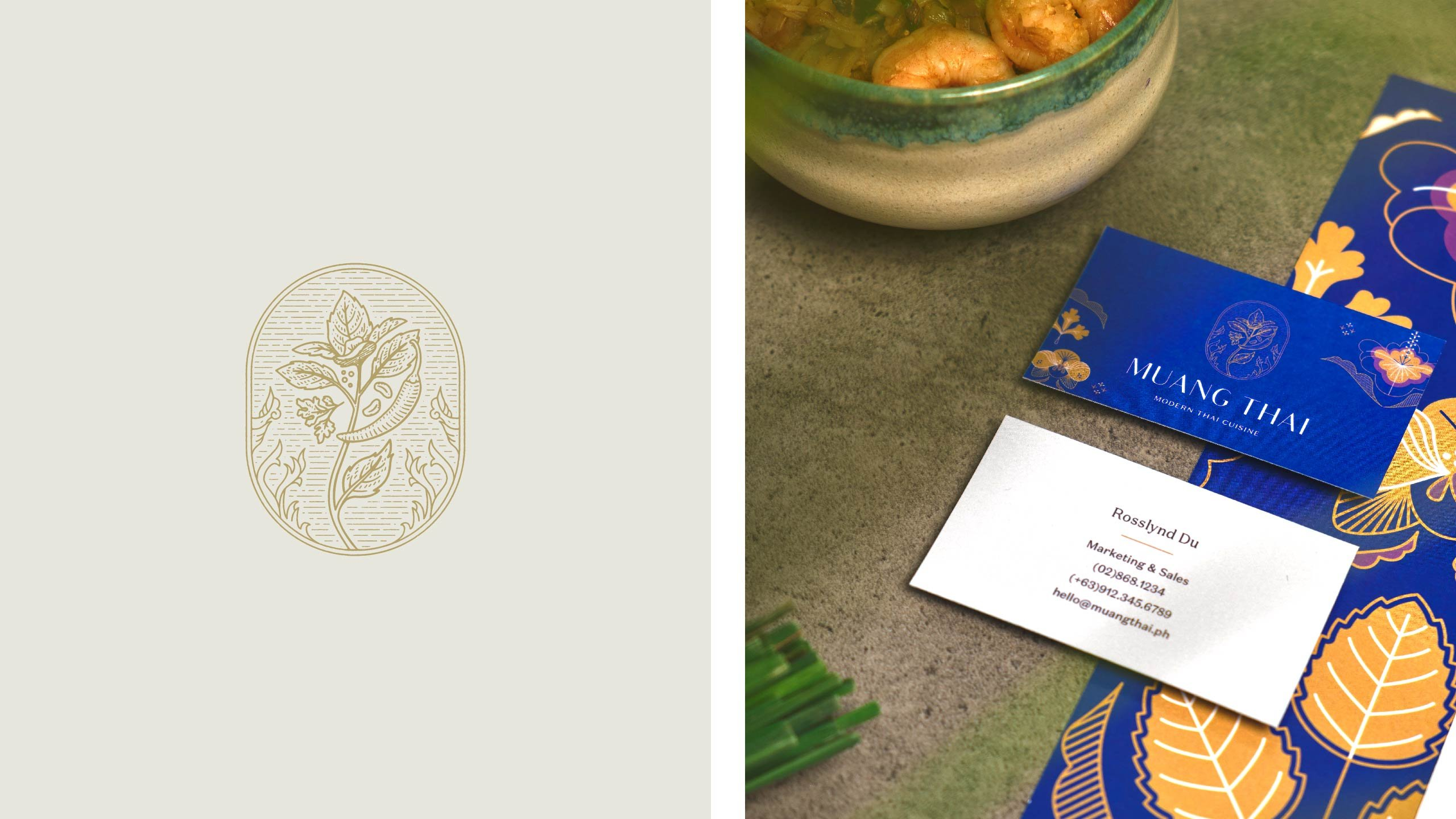 The Muang Thai logo inspired by Thai spices applied on the brand's company card