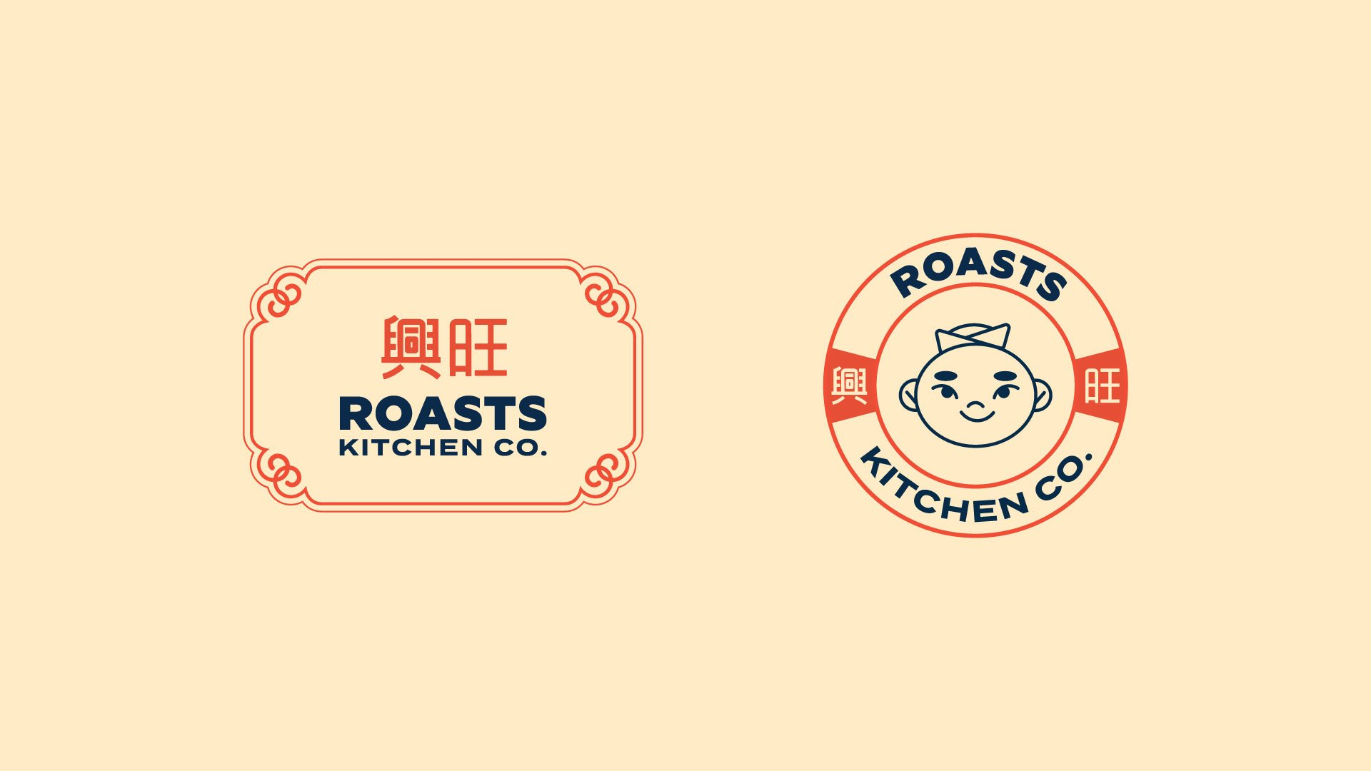 Oriental logo and mascot design for Hong Kong roasts restaurant Roasts Kitchen Company
