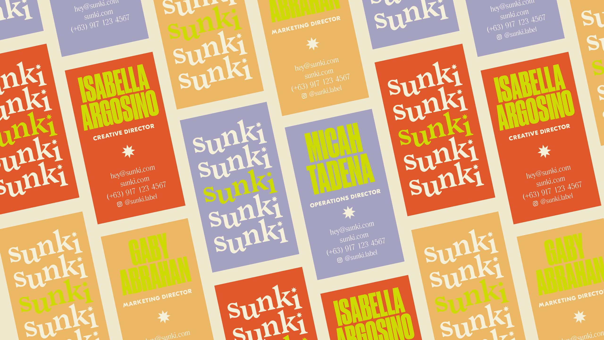 Bold and colorful business card design for sustainable retail brand Sunki