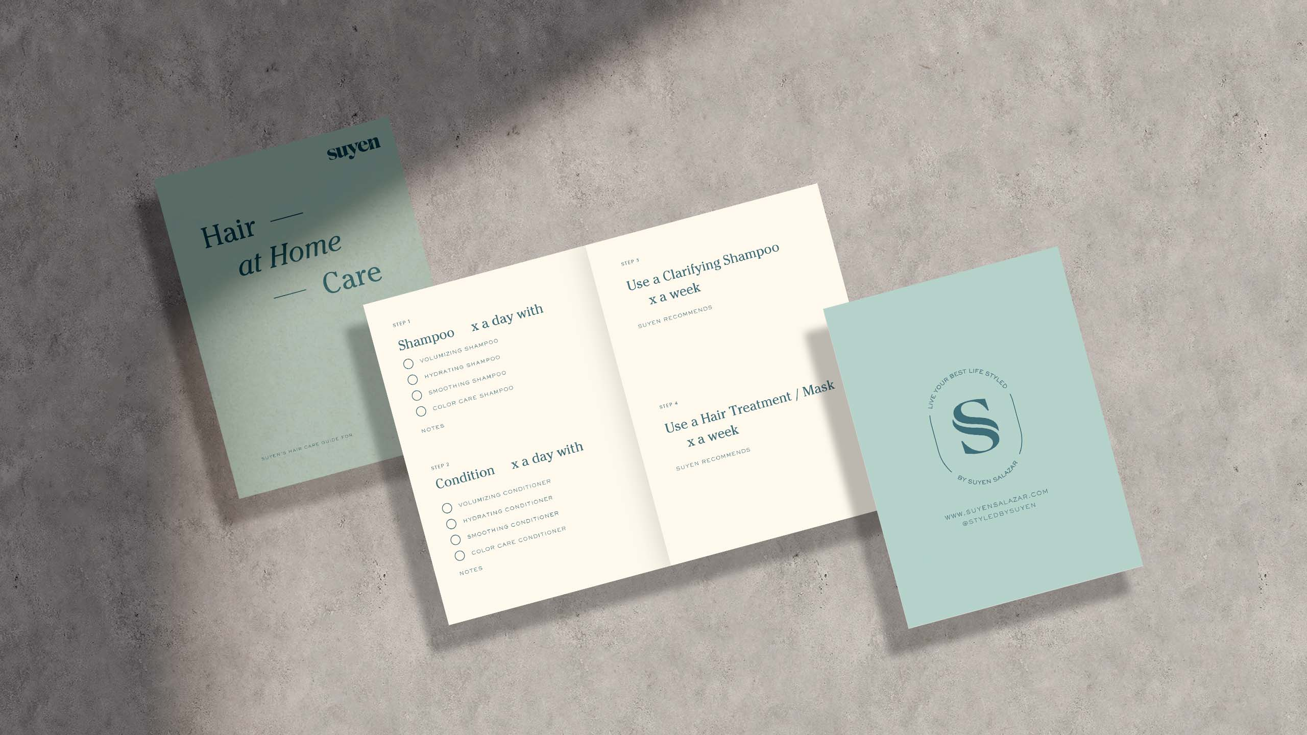 Branding applied on prescription sheets for hairstylist and brand Styled by Suyen